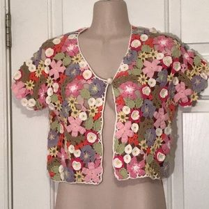 Sweaters - Beautiful multicolor floral crocheted cotton shrug